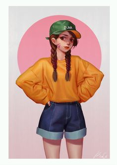 Kai Fine Art is an art website, shows painting and illustration works all over the world. Cute Girl Drawing, Cartoon Girl Drawing, Cute Drawings, Girl Drawings, Drawing Faces, Cartoon Girl Images, Cartoon Art Styles, Girl Cartoon, Sweet Pictures