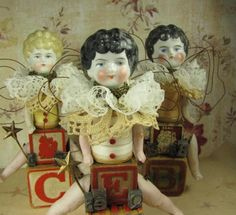 """Angel """"The Eagle Soars"""" Assemblage Art Doll with Antique Doll Parts and Vintage Blocks. via Etsy."""