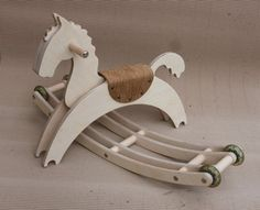 Wooden Rocking Horse with wheels Gift for Kids Wooden by 2xpwood