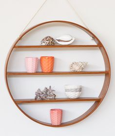 Oak Circle Shelf - Three Tier - Dark Walnut Finish | Bride & Wolfe