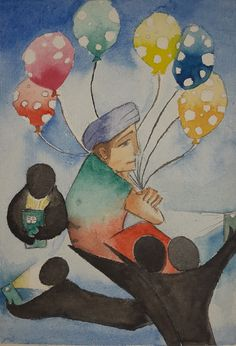 Nice Art, Cool Art, Balloons, Painting, Globes, Painting Art, Balloon, Paintings, Painted Canvas