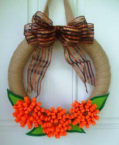 Fall burlap wreath with orange felt flowers