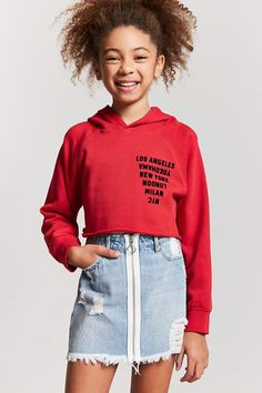 Mädchen Pull-Ring Jeansrock (Kinder) - Kids styling at - Outfit Back To School Outfits For Kids, Trendy Outfits For Teens, Kids Outfits Girls, Cute Outfits For Kids, Cute Summer Outfits, Cute Casual Outfits, Tween Girls, Girls Wear, Winter Outfits