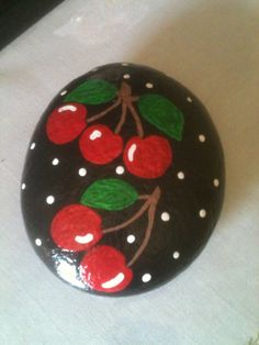 Luscious Red Cherries, Painted Rock E. R. 2014