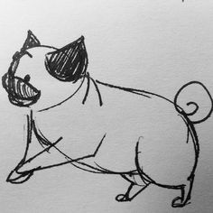 Pug doodle that would make an adorable tattoo. Drawing Sketches, My Drawings, Pug Illustration, Pug Tattoo, Baby Pugs, Pug Art, Pug Love, Beautiful Drawings, Future Tattoos