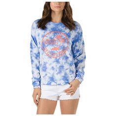 Tide Palm Crew Sweatshirt ($45) ❤ liked on Polyvore featuring tops, hoodies, sweatshirts, dazzling blue, blue top, boyfriend sweatshirt, marble top, pullover sweatshirt and crew-neck sweatshirts