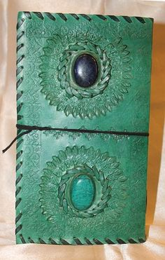 Dual gem stone colored journal with lace lock.