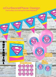 Printable Supergirl Party Banner, Balloon Stickers, Cup Labels, Gift Bag Tags, Party Favors, Plate Labels, by OurSecretPlace, $3.99