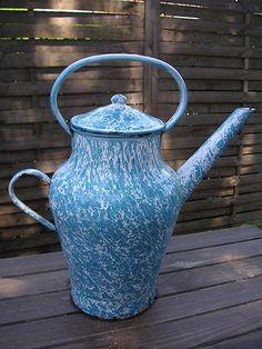 blue graniteware.