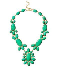 Aurélie Bidermann Green Turquoise Cherokee Necklace - Fresh market greens are very much in season. http://shop.harpersbazaar.com/trends/fresh-direct