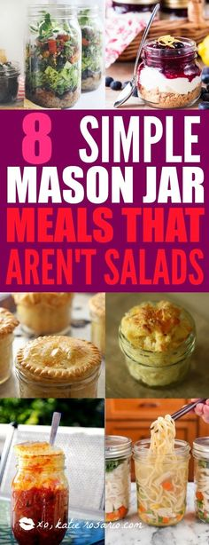 8 Simple Mason Jar Meals That Aren't Salads - XO, Katie Rosario Mason Jar Lunch, Mason Jar Meals, Meals In A Jar, Meals For One, Mason Jars, Mason Jar Recipes, A Food, Food And Drink, Making Mac And Cheese