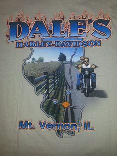 Harley Davidson Motorcycles Men's T-shirt L Tan Mt. Vernon IL Great Shape #HarleyDavidson #BasicTee