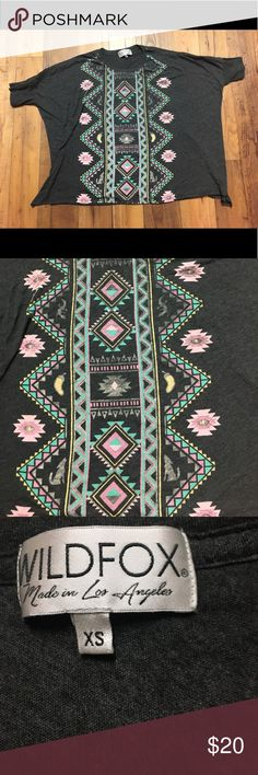 {Wildfox} Grey Slouchy Aztec Tee FINAL PRICE Size XS, but can fit S. super soft cotton, EUC! Has slots on the side, as pictured in last photo! Wildfox Tops Tees - Short Sleeve