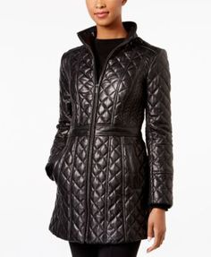 Warmth delves into decadence with Jones New York's supple, genuine leather jacket. | Leather; lining & fill: polyester | Professional leather clean | Imported | Stand collar | Zipper closure at front