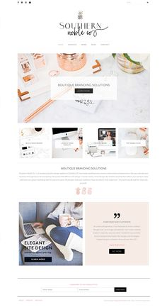 Luxe website design inspiration for boutique graphic design studio. Using Samantha WordPress Theme by Bluchic.