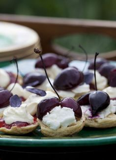"""Scones with rosemary cherries from """"Fresh from the Garden: Food to Share with Family and Friends"""" by Sarah Raven Cherry Recipes, Mixed Berries, Cookbook Recipes, High Tea, I Love Food, Bon Appetit, Just Desserts, Scones, Finger Foods"""