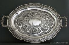 hill village style indian silver tray bombay 1890