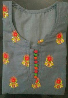 30 Stylish Potli button neck designs for kurtis and salwar suits Chudithar Neck Designs, Neck Designs For Suits, Sleeves Designs For Dresses, Neckline Designs, Blouse Neck Designs, Sleeve Designs, Blouse Patterns, Salwar Suit Neck Designs, Churidar Designs