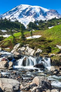Edith Creek in Mount Rainier National Park, Washington, one of the America's best national parks for waterfalls.