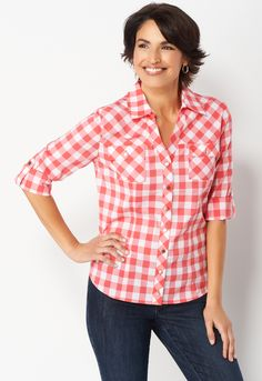 742c7914 Green essential gingham shirt $45 Gingham Shirt, Stylish Tops, Latest  Trends, Button Downs