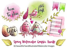 NEW Spring has Sprung whimsical Watercolor Illustrations by Andrea Gomoll  huge Bundle of 82 (!!!) watercolor Illustrations & Graphics  perfect to