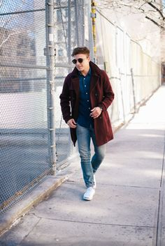 I've never met a burgundy coat I didn't like. Fashion Men, Fashion Styles, Winter Fashion, Mens Winter Coat, Winter Coats, Winter Outfits Men, Fall Fashions, Boyfriend Style, Bastille