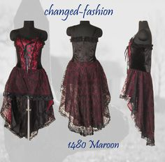 Halloween Costume Gothic Corset Wedding Formal Bridesmaid Dress Maroon Prom Night Wear Custom Made US Size 20-26 Different Colors