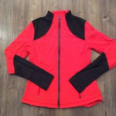 Lululemon Forme Jacket Red (love red) full zip jacket with gray (deep coal) color block accents on the sleeves lululemon athletica Other
