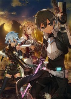 Sinon (Asada Shino), Asuna (Yuuki Asuna) & Kirito (Kazuto) - By Sword Art Online ღ Sword, Online Art, Sword Art Online Wallpaper, Art, Anime, Cartoon, Anime Characters, Anime Movies, Fan Art