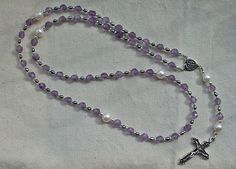 Dominican Rosary Beads with Faceted Amethyst, Peacock and Freshwater Pearls and Sterling Silver