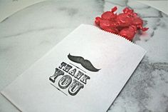 Candy buffet bags, wedding cake bags, candy station bags, favor bags. 50.  Vintage style Thank You with mustache.