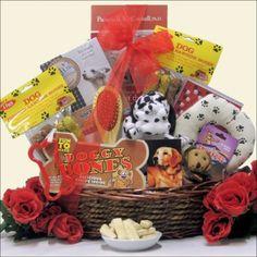 Congrats on Your New Pooch!: Pet Dog Gift Basket, Gourmet & Artisan Foods :: Gift Boxes & Baskets :: Bullszi.com