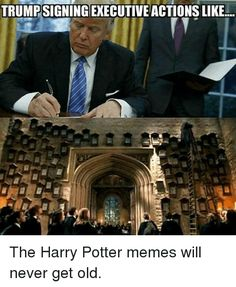 TRUMPSIGNINGEXECUTIVE ACTIONSLIKE... The Harry Potter memes will never get old. from Instagram tagged as Harry Potter Meme