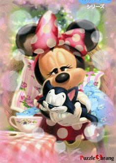 Minnie Mouse in her little cat Retro Disney, Cute Disney, Baby Disney, Disney Art, Image Mickey, Mickey Love, Images Disney, Disney Pictures, Mickey Mouse Wallpaper