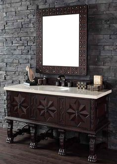 "James Martin Furniture - Balmoral 60"" Antique Walnut Double Vanity with 4 CM Galala Beige Marble Top - 150-V60D-ANW-4GLB"