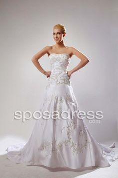 Cheap A-line Strapless Embroidery Satin Elegant Bridal Dress