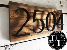 Address Plaque w/ Floating Numbers (shiplap rustic farmhouse reclaimed wood) Diy Mailbox, Mailbox Garden, Address Plaque, House Address, House Siding, Farmhouse Remodel, Floating House, Front Door Decor, House Numbers