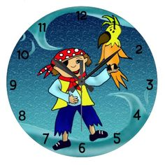 Customizable little pirate with his parrot Cute and unique clock for chirldrens room #clock #uniqueclock #pirateclock #parrotclock #waveclock #roomdecor