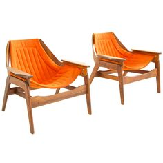 JERRY JOHNSON  USA  1964  Johnson for Charlton Company, Pair of sling lounge chairs. Features scalloped arm details.