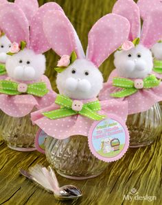 Jars rice pudding - First Tooth - My Design Shop Panama Easter Projects, Easter Crafts, Diy And Crafts, Crafts For Kids, Diy Easter Decorations, Diy Ostern, First Tooth, Decorated Jars, Easter Bunny