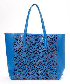 This Blue Laser-Cutout Tote & Coin Purse by Pink Cosmo is perfect! #zulilyfinds