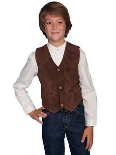 Vests 176957: Scully Leather Kids Boys Expresso Boar Suede Western Vest ->  BUY IT