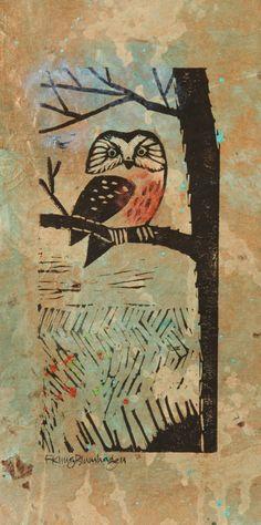 Saw Whet Owl/ Francy Blumhagen/ mixed media