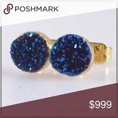 ✨Coming Soon!✨7mm Blue Druzy Round Stud Earrings! Coming Soon! More pics on Arrival!  ✨Will be shipped Securely in Velvet Jewelry Bag👌 ✨Natural Blue Agate Druzy Stones, 7mm Round, Surrounded in 18K Gold Filling 🔅Note!🔅Natural Stones are not Perfect! They have their own imperfections, which may be cracks, holes or uneven surfaces  *ALL items Marked at Absolute LOWEST Price unless Bundled! *NO TRADES *Sales are Final-Please Read Descriptions! Boutique Jewelry Earrings