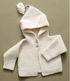 Nancy A. finished an off-white garter stitch hoodie with brown teddy bear buttons. Free Knitting Pattern Lion Brand® Lion Organic Cotton T...