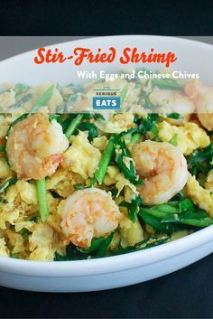 This stir-fry of eggs with shrimp and Chinese chives is a popular dish for Cantonese home cooks.