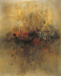 """Zao Wou-Ki - Et la terre était sans forme (And the Earth was Shapeless), 1956-57. Chaos at the moment of creation: """"As subject matter, nature has been embedded in Zao's art from the start…As he started to develop his own style, he turned to visualizations of elements of nature that can't be seen,"""" says Elizabeth Upper in, """"Zao Wou-Ki and the Nature of Art,"""" featured in Above Magazine."""