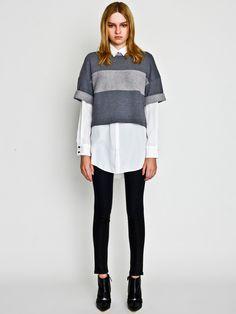 Sweat Top layered over the Dechine Basic Shirt with Hi-Tension Skinny Pants / LE CIEL BLEU