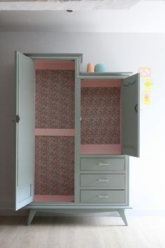 Vintage cabinet renovated and revamped by Les Jolis Meubles - # . - - Vintage cabinet renovated and revamped by Les Jolis Meubles – # … – Vintage cabinet renovated and revamped by Les Jolis Meubles – # … – Vintage Bedroom Furniture, Bedroom Furniture Makeover, Bedroom Vintage, Paint Furniture, Upcycled Furniture, Home Decor Furniture, Shabby Chic Furniture, Kids Furniture, Furniture Online