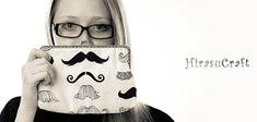 Cotton fabric  clutch moustache design  free by HirasuCraft, $41.00